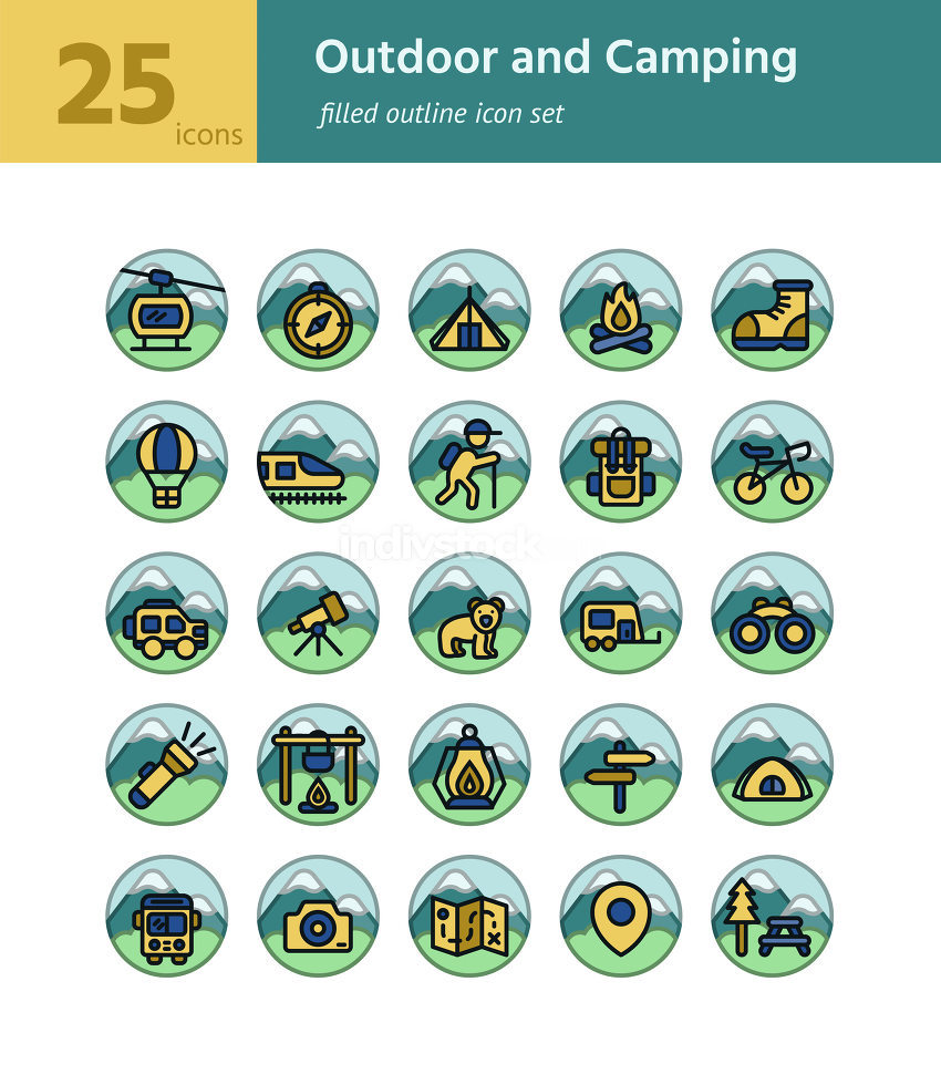 Outdoor and Camping filled outline icon sel. Vector and Illustra