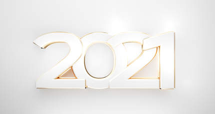 2021 bold golden white symbol 3d-illustration