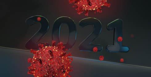 2021 coronavirus covid-19 3d-illustration dark red background