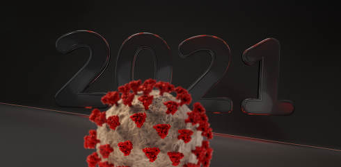 2021 virus background dark red lights 3d-illustration