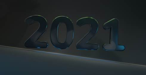 2021 year abstract creative background 3d-illustration