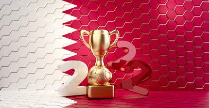 2022 Qatar colored background design. golden soccer trophy 3d-illustration
