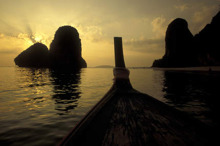 a boat tour in the Sea and Landscape at the Ao Phang Nga Nationalpark on the Andaman Sea in the south of Thailand. Thailand, Phang Nga, April, 2001