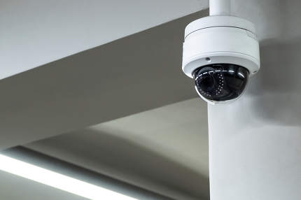 A review of surveillance cameras on white background. Security concept. Facial recognition. Program search for criminals