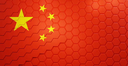 China grid background hexagonal 3d-illustration
