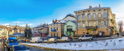 Chortkiv, Ukraine 01.06.2020. City centre and the old Town Hall in Chortkiv, Ukraine, on a sunny winter day