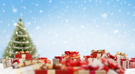 christmas gifts on snow and fir festive design 3d-illustration