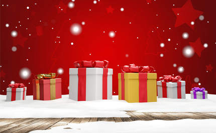 christmas presents red background with fir tree and stars design 3d-illustration