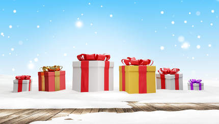 christmas presents white blue background with fir tree and stars design 3d-illustration