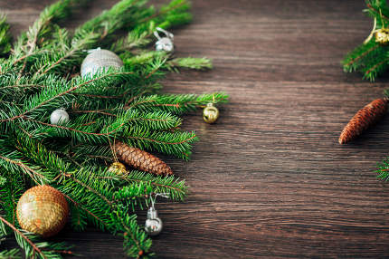 Christmas Tree Branches on a Brown Background with CopySpace for Text