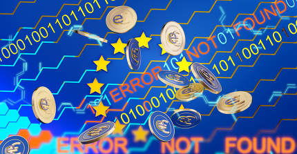 concept of digital error and the digital Euro, e-euro, hexagons creative background, coins 3d-illustration