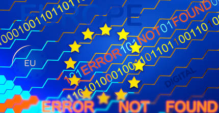 concept of digital Europe and error 3d-illustration background