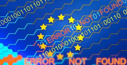 concept of digital Europe and error 3d-illustration background