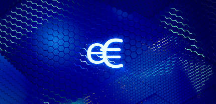 concept of E-Euro, Europe, e-Euro currency hexagonal grid backgr