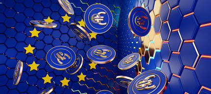 concept of E-Euro Europe, eEuro currency hexagonal grid background 3d-illustration