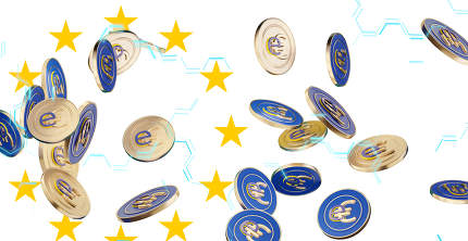 concept of Europe as colors for the digital E-Euro and question marks 3d-illustration
