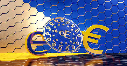 concept of Europe, e-Euro currency hexagonal grid background 3d-illustration