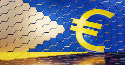 concept of Europe, Euro currency hexagonal grid background 3d-illustration