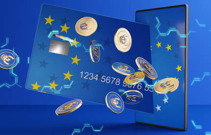 concept of the digital e-Euro with credit card and mobile phone, hexagonal background. colors of the flag of Europe and light blue lights 3d-illustration