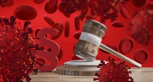 Coronavirus covid-19 3d-illustration paragraph judge gavel law