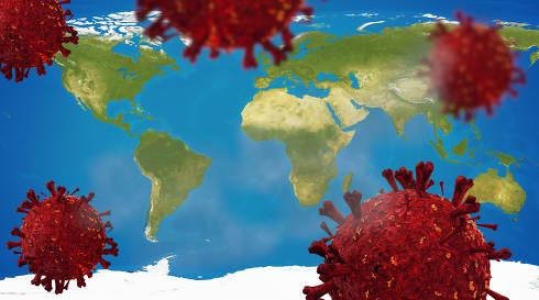 Coronavirus covid-19 3d-illustration world map. elements of this