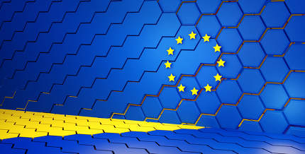 creative abstract Europe design background, hexagonal grid lights EU illustration background 3d-illustration