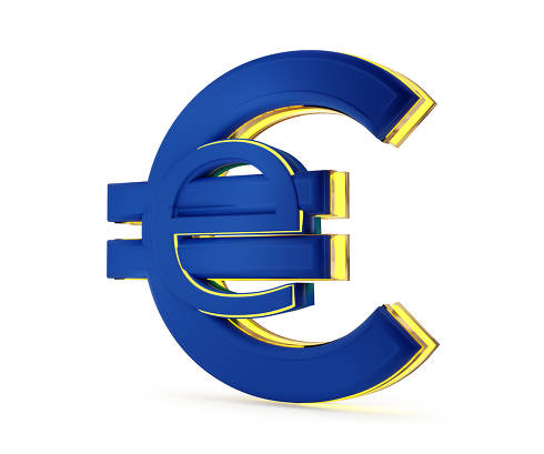 digital currency e-euro symbol abstract symbolic 3d-illustration