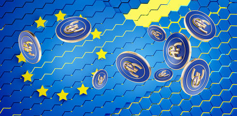 digital currency e-Euro symbolic coins design 3d-illustration