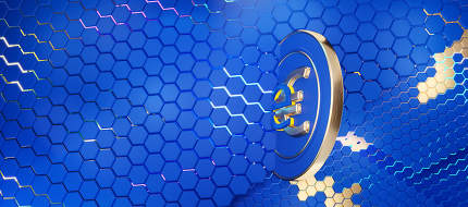 e-euro digital concept. Europe concept of eEuro background 3d-illustration