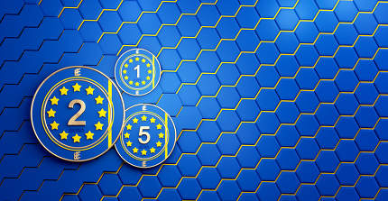 e-euro digital concept of Europe and hexagonal background design 3d-illustration
