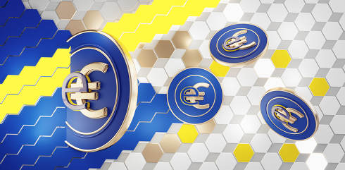 E-Euro digital currency coins background 3d-illustration