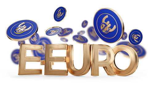 E-Euro symbol creative symbolic golden and coins 3d-illustration
