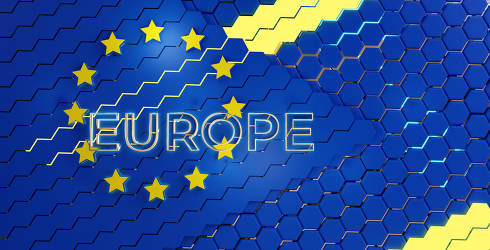 Europe creative abstract background hexagonal design 3d-illustra