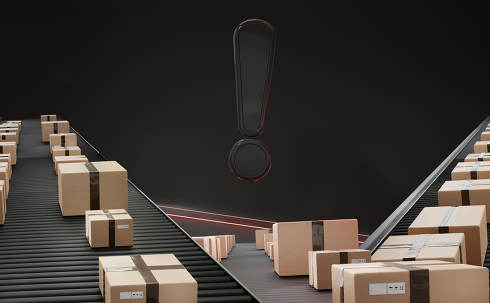 exclamation mark and parcels packages on conveyor belt 3d-illust