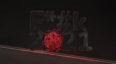 f* k 2021 virus 3d-illustration symbol