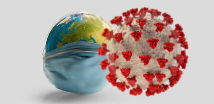 face mask earth and COVID-19 Corona Virus. 3d-illustration elements of this image furnished by NASA