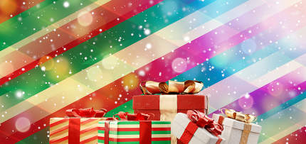 festive christmas gifts 3d-illustration background