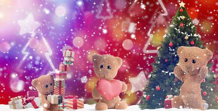 festive Christmas gifts. presents 3d-illustration background