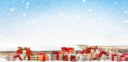 festive Christmas presents background 3d-illustration