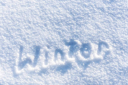 full frame fresh snow texture background with winter text
