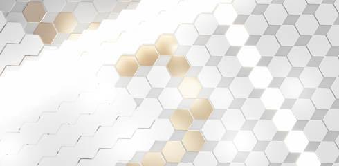 hexagonal golden white bright light background 3d-illustration