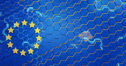 hexagons design of the flag of Europe 3d-illustration