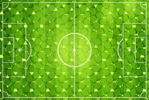 hexagons soccer field background 3d-illustration