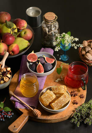 Honey, Honeycomb, Tea, Dried Fruits and Figs