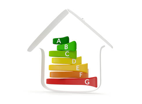 house energy rating 3d-illustration green to red