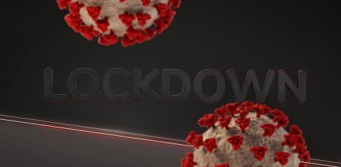 lockdown virus background dark red lights 3d-illustration