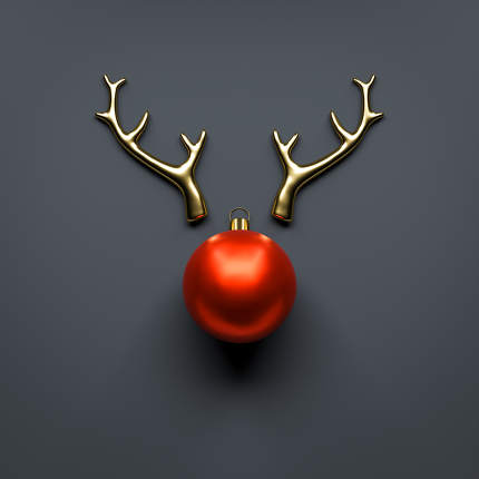 Merry Christmas Decoration golden antlers and red ball