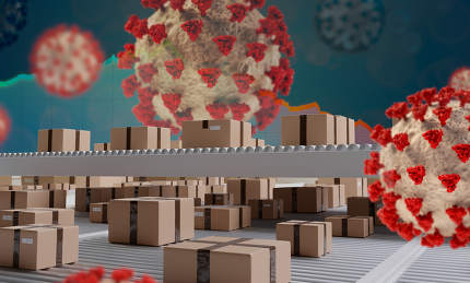 packages as parcel or logistic and production abstract design with Corona Virus COVID-19 3d-illustration background