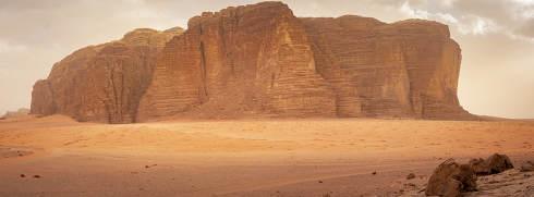 Panorama of Khazalis mountain in the desert of Wadi Rum, Jordan. Travel and Tourism in Jordan