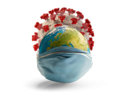 planet earth with surgical mask and Corona Virus covid-19 in the background 3d-illustration